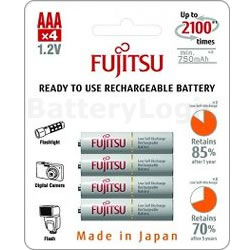 Fujitsu White AAA 800mAh (4 pack) - NiMH rechargeable batteries